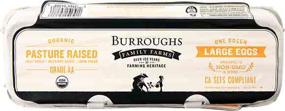 Burrough Family Farms Organic, Pasture-Raised Large AA Eggs