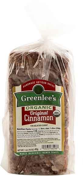 Greenlee's Organic Cinnamon Loaf Bread