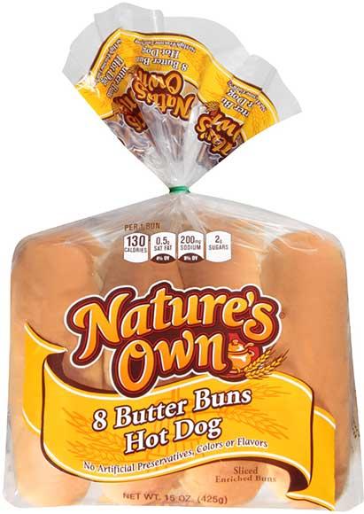 Nature's Own Hotdog or Hamburger Buns